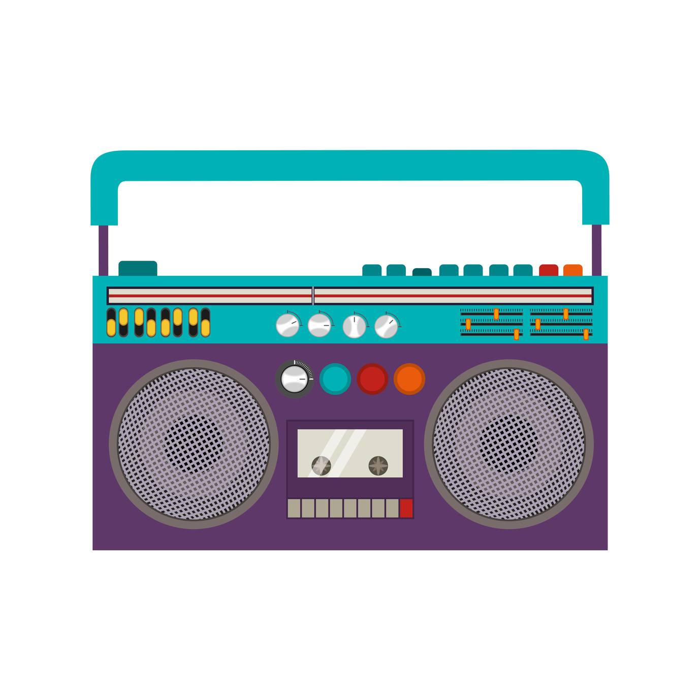 Classic 80s Boombox Portable Cassette Tape Player over white Background.